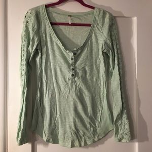 Free people mint green long sleeve top